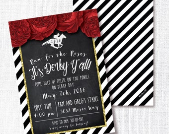 RED ROSES run for the roses Derby charkboard gold glitter party invitation horse racing track invite