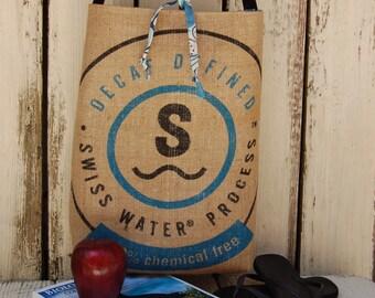 Recycled Burlap Coffee Bag Tote. Burlap Book Bag. Burlap Diaper Bag. Burlap across body bag. Burlap coffee Market Bag