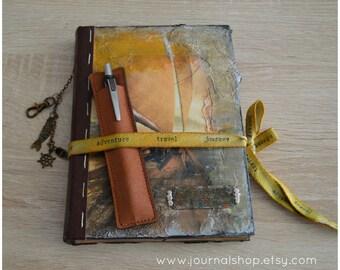 Handmade travel  journal, wanderlust notebook,  diary, journey photo book, sketchbook,  scrapbook, journey journal