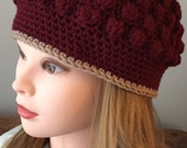 Sophisticated Womens Winter Hat, Burgundy Beanie, Womans Winter Hat Bobble Stitch Hat Handmade Beanie Red Teen Winter Accessory Fall Hat