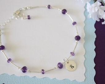 Initial Bridesmaid Anklet Purple, Bride Gift, Amethyst Anklet, Monogram Charm Anklet, Sterling Silver Adjustable Anklet, Wedding Jewelry