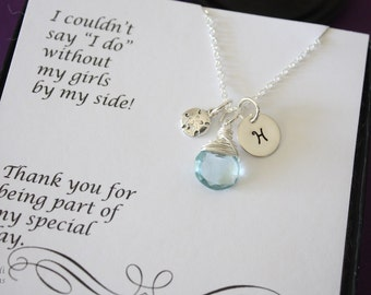10 Bridesmaid Personalized Necklaces with Sand Dollar, Beach Wedding, Sterling Silver, Gemstone, Initial jewelry, Charm, Thank you Card