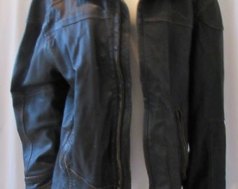 Leather dark brown black Jacket Zipper front inside accessory pockets Santa Barbara Territory Brand