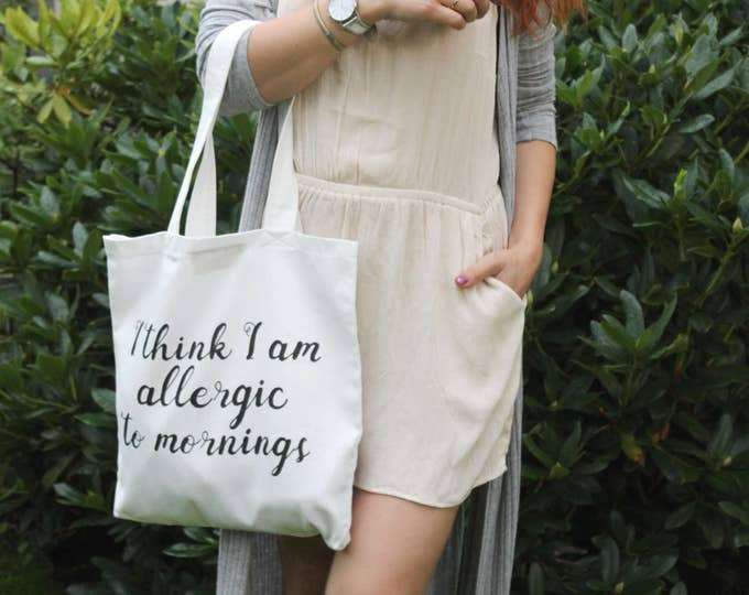 Cotton tote bag. Fabric shopping bag. Large shoulder bag. Canvas tote bag. Bridesmaid gift. White bag. Handwritten. /SIMPLE TOTE 2