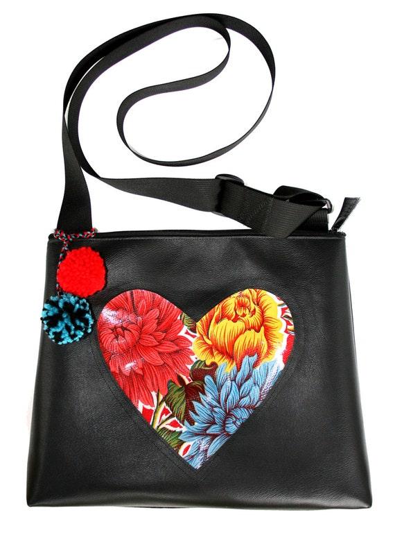 black vinyl, oil cloth, heart, red, floral, pom poms, large, cross body bag