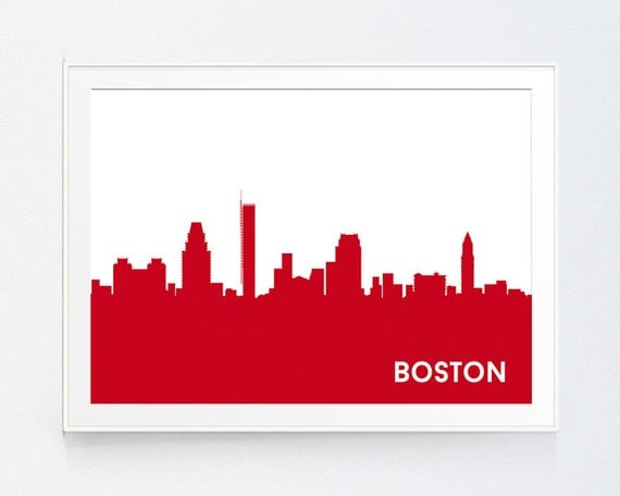 Red Boston Skyline Red Boston City Office Wall Art Home