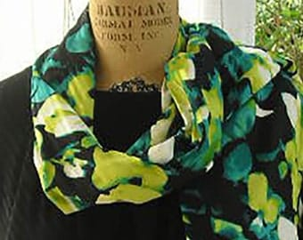 Classic Teal Chartreuse on Black Charmeuse Doubled Scarf Wrap