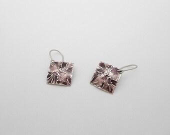Enameled Fine Silver Earrings, Purple Floral