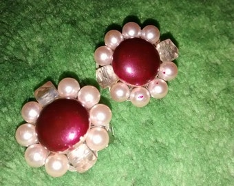 Pearl Plum Glass Cluster Earrings Made In Japan....