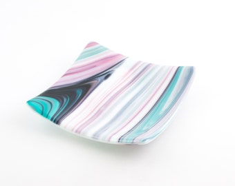 Fused Glass Dish, Candle Plate, Catch All, Decorative Plate, Pink and Teal, Home Accents, Square Dish, Trinket Tray, One of a Kind Gifts