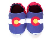 Colorado Flag Baby Girl Shoes, Colorado Baby, 0-6 mos. Baby Booties, Crib Shoes, Slip-on Baby Shoes, Soft Sole Baby Shoes, Baby Girl Gift