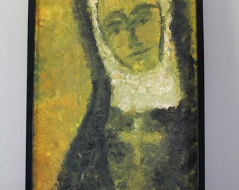Mid century, Brutalist painting, abstract, religious portrait, 1950s- 1960s