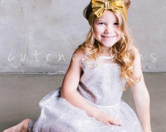 Baby Headbands, Girls Head wraps, Gold Messy Bow Baby Head wraps, Floral Headwrap, Big Bow Baby Headbands, Boho Girl Headband, Messy bow