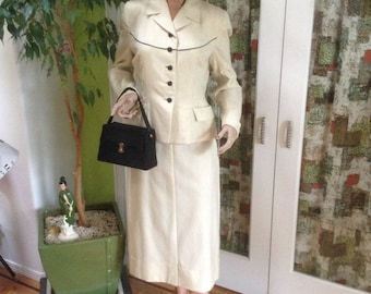 Amazing 1950's Cream Wool 2 piece suit!