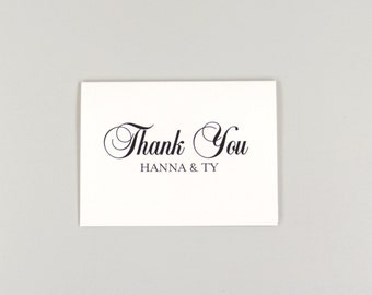 Classic Script Personalized Folded Wedding Thank You Card // A2 Broadfold Thank You card with Envelope