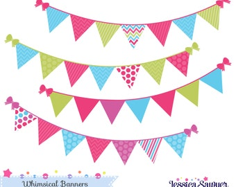 INSTANT DOWNLOAD,  bunting banner clipart or flag clipart for personal and commercial use