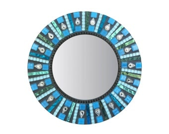 Round Mosaic Mirror in Blue, Teal and Black, Stained Glass Mirror, Accent Mirror - SALE