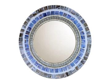 Blue and Gray Round Wall Mirror, Accent Mirror, Mosaic Mirror, Unique Home Decor -- SALE