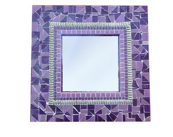 Purple and Silver Mosaic Wall Mirror / Square Accent Mirror