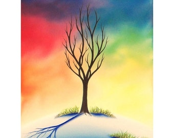 Colorful Winter Landscape Print, Giclee Print of Snowy Landscape, Single Tree, Lone Tree Art, Sunset Sky Whimsical Art Print, Modern Home