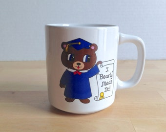 Vintage I Bearly Made It Graduation Coffee Mug - Funny Congratulations Grad Gift