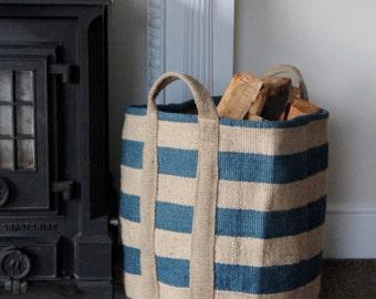 Jute Storage Bag - Handwoven Fair Trade Large Jute Blue Stripe Storage Bag, Basket