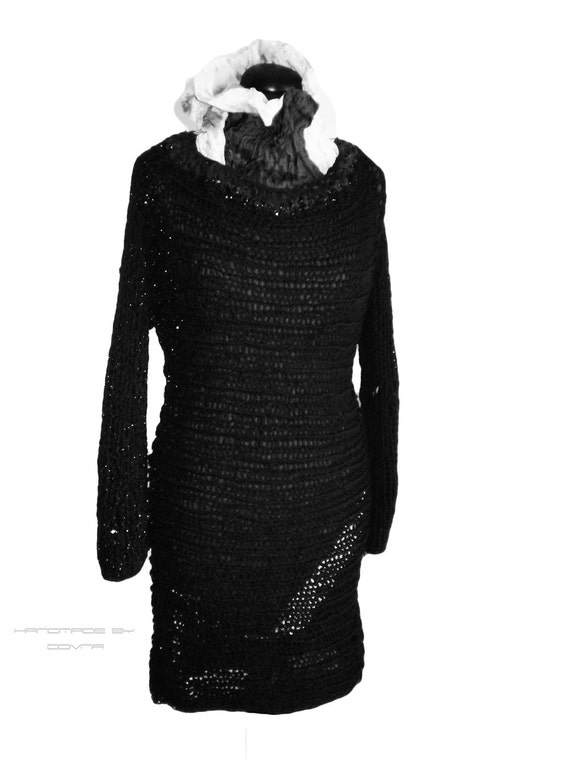 Black sweater -  loose unstructured  dress sweater , braided leather collar Oversized Plus Size Hand Knit Sweater Tunic