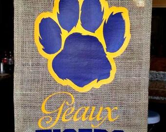 Burlap Garden Flag; Tiger Paw, Purple and Gold, LSU