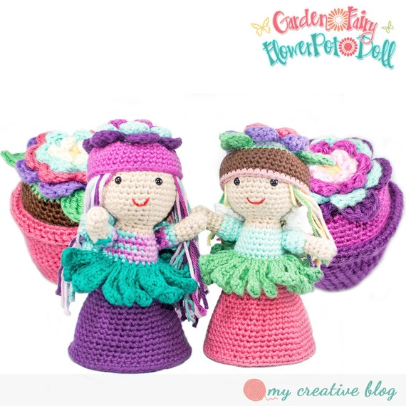 Amigurumi Crochet Garden Fairy Flower Pot Topsy-Turvy Doll Toy