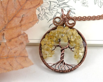 Citrine necklace Citrine pendant Wire Tree-Of-Life pendant Tree-Of-Life Jewelry Family Tree Copper Wire Wrapped Pendant November Birthstone