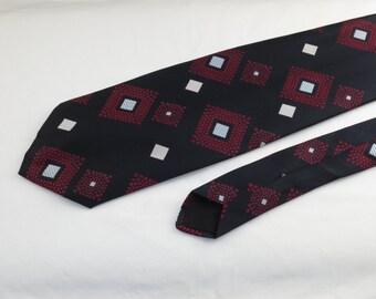 Vintage Velducci Men's Tie, Black, Red and White Diamond Pattern