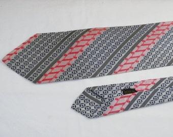 Vintage Men's Tie, Black Red and White Stripes