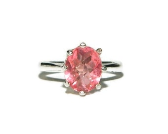 Ring With Pink Stone, Rose Quartz Ring, Sterling Silver Anniversary Ring