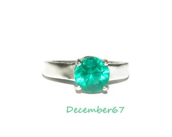 Lab Created  Emerald Ring,  Size 7 Ring, Sterling Silver Ring, Ring With Thick Band