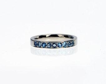 Aquamarine wedding band, white gold ring, half eternity, light blue wedding, unique, aquamarine eternity ring, aquamarine engagement ring
