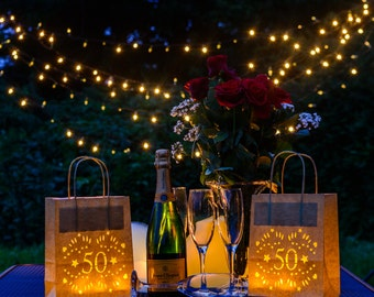 50th Birthday Lantern Bags, perfect 50th party decoration