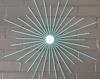 "Choose Your Size! 24"" Solid Steel Retro Eames Era Starburst Sunburst Modern Metal Wall Art Mirror Sculpture Atomic Interior Home Staging"