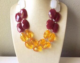 Maroon & Orange Double Strand Necklace - Virginia Tech Inspired Hokies Jewelry - Chunky statement Blacksburg