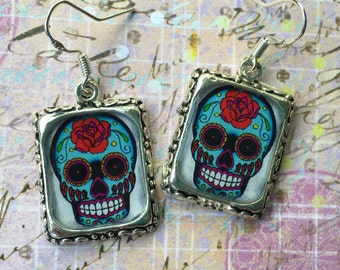 Sugar Skull Earrings Goth Gothic Jewelry Colorful  Silver Square