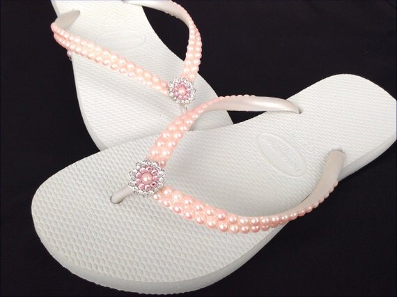 Custom Havaianas Slim Flip Flops Pearls Rock Blush Pink Light Rose w/ Swarovski Crystal gem Silver Filigree BridesMaids Beach Wedding shoes