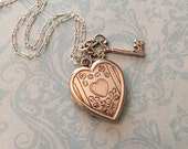 RESERVED LISTING Vintage Silver Heart Locket, Heart and Key, Bliss Brothers Locket, Romantic Gift for Her