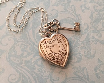 Vintage Silver Heart Locket, Heart and Key, Bliss Brothers Locket, Romantic Gift for Her