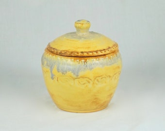 Gold Yellow Trinket Jar with textured design,  sugar bowl, Handmade stoneware pottery, hand thrown ceramics