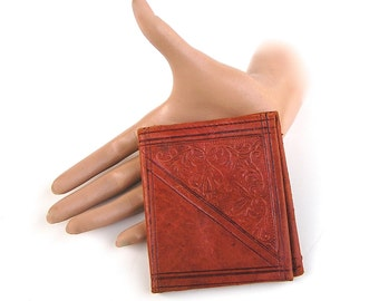 Vintage Made in Morocco Wallet . Embossed Leather Billfold