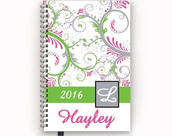 2016 2017 Calendar Personalized Family or Academic Student Planner with Lime and Hot Pink Paisley Swirl Cover