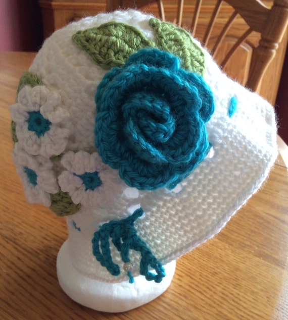 Child Crochet Panama Hat Clouche hat Easter Hat Flower Hat