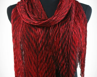 Pleated Silk Scarf/Shawl in Red and Black