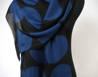 Blue Moons Wrap/Scarf Large Shibori Shawl on Wool/Silk