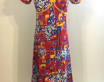 1960s 1970s NEW colorful maxi dress