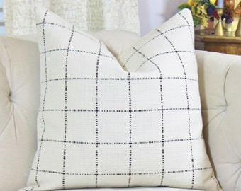 Check Pillow Cover- Black and Creme Plaid - Ivory Woven Pillow Cover -  Rustic Chic Decor